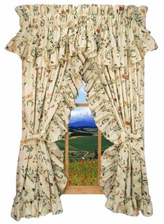 Image detail for -Ruffled Priscilla Curtains with Country Floral Print !
