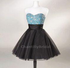 Princess Strapless Sweetheart-neck Blue Bodice Black Tulle Skirt Crystal Beaded Cocktail Dresses/Short Prom Dresses. $136.99, via Etsy.