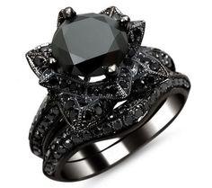 diamond lotus flower ring | 0ct Black Round Diamond Lotus Flower Engagement Ring Set 14k Black ...