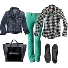 check + denim + green, created by turquoise22 on Polyvore