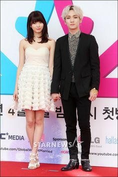 """Key and Arisa - """"We Got Married"""" Press Conference ___ Arisa, Cute and Frilly I love her dress and those shoes!"""