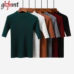 Gkfnmt 2018 New knitted Slim Pullover Women Turtleneck Knitted Sweater  Shirt Female All-match Basic Half Sleeve Tops Clothing f82e56da2