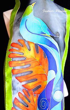 Hand painted silk scarf elegant tropical di FantasticPheasant