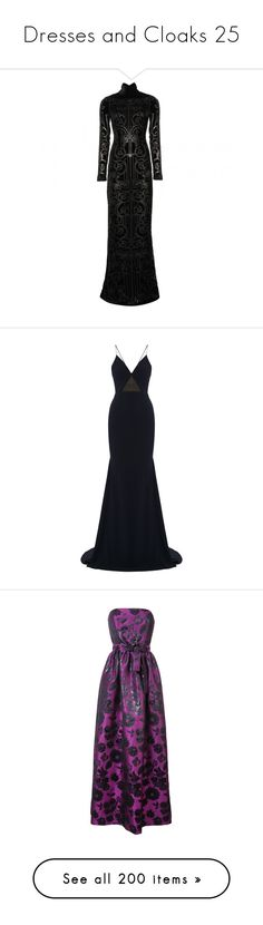 """""""Dresses and Cloaks 25"""" by xx-black-blade-xx ❤ liked on Polyvore featuring dresses, gowns, long dresses, zuhair murad, black, floor length gowns, long velvet dress, velvet evening gown, velvet gown and flock dress"""