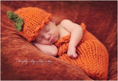 Thanksgiving or Halloween Pumpkin baby hat and cocoon, perfect newborn photo prop and Halloween costume