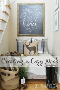 City Farmhouse-Holiday Nook-Using Textures, Natural Elements and Lindsey Letters Beautiful Canvas FEATURE