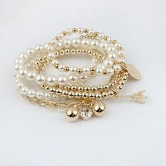 New Fashion Vintage Eiffel Tower Beads Coin Combination Bracelet Bangle Pendants Silver, WHITE in Bracelets | DressLily.com
