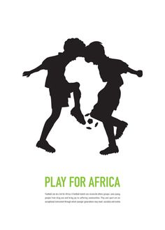 This design shows Gestalt through the play of the positive and negative space in the design. At first sight, you see two boys playing soccer, but on second look, you see the African continent made by their silhouettes.