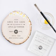 DIY Wood Slice Save the Date using a rubber stamp | Pretty Peas Paperie