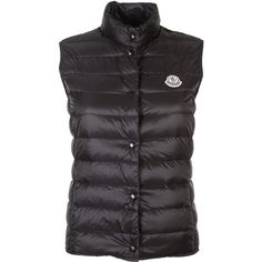 Moncler Vests (949.670 COP) ❤ liked on Polyvore featuring outerwear, vests, black, sleeveless waistcoat, vest waistcoat, moncler vest, patch vest and moncler