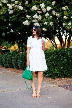 White burnout lace shirtdress