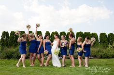 Royal blue, navy, bridesmaid dresses, bridal party, chartreuse, jcrew wedding dress, bouquet, bride, hairstyles, White Cliffs Country Club Boston Wedding  #aubreygreenephoto