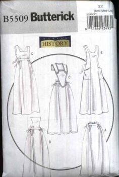Vintage Fashion Library - Making History Princess Seam Button Front Full Length Pinafore Edwardian Victorian Apron Pinny Sewing Pattern Butterick 5509 S M L