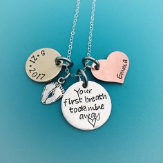 Your first breath took mine away - hand stamped jewelry necklace - gift for new mom - mothers day gift - sterling silver jewelry - sterling by MommysMetalz