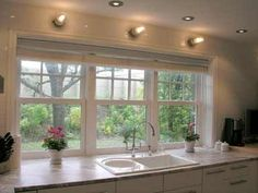 New kitchen window over sink modern ideas Window Over Sink, Kitchen Sink Window, Kitchen Sink Faucets, Kitchen Windows, Bathroom Cabinets, Wall Cabinets, Home Decor Kitchen, New Kitchen, Decorating Kitchen