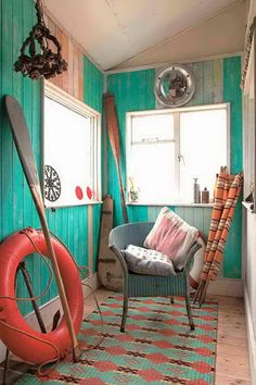 love the vintage orange against the teal-turquoise