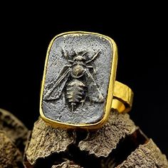 Honey Bee Ancient Roman Art Signet Greek Coin Seal Ring 925 Sterling Silver 24K Yellow Gold Vermeil Handcrafted Artisan Jewelry