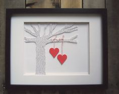 Cute DIY wall decor-cut a tree shape out of a book or newspaper. Cut out two paper hearts. Make a loop and tie it; glue the bottom to the hearts. Hang hearts from tree, and put tree in a cardboard frame. Put that in a glass frame.