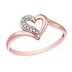 Diamond+Accent+Heart+Ring+in+10K+Rose+Gold im in loveee! This reminds me of the first ring Mark ever gave me.