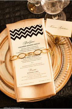 Love our chain details! SIX created chevron menu cards for our design. Christopher Todd Studios / A Good Affair Wedding and Events / Gold and Black Chevron Wedding Ideas / Style Unveiled Great Gatsby Wedding, Art Deco Wedding, Wedding Menu, Gold Wedding, Wedding Blog, Wedding Events, Wedding Ideas, Wedding Colors, Wedding Reception