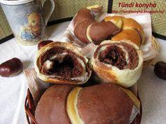 Mogyorókrémmel töltött kifli Recept képpel - Mindmegette.hu - Receptek Hungarian Recipes, Pretzel Bites, Doughnut, Muffin, Food And Drink, Bread, Breakfast, Sweet, Foods