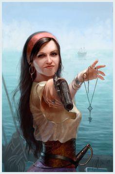 Pirate self portrait Picture  (2d, portrait, girl, woman, pirate, fantasy)