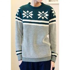 $17.20 Fashion Scoop Neck Snowflake Pattern Color Block Thicken Long Sleeves Cotton Blend Sweater For Men