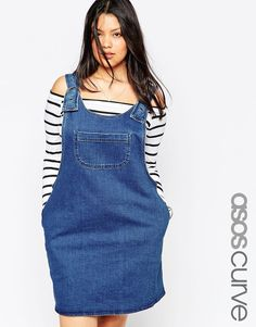 How cute does the stripy top look underneath this denim pinafore dress? : http://asos.do/v8GKr8