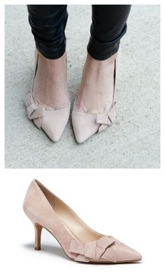 Pretty suede mid heel pump with a ladylike bow and pointed toe. Perfect bridal or work heel.