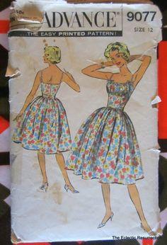 nboVintage 1950s Bombshell Dress-Sundress Pattern-Advance 9077-32 Bust. $20.00, via Etsy.
