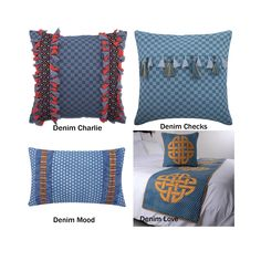 Decorative Throw Pillow Cover, Denim Textured Checks Cotton Pillow Cover with Tassels and Lace, Lumbar Oblong Pillow, Denim Bed Runner