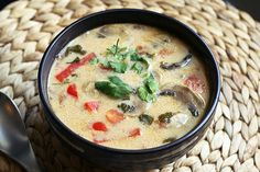 Tom Kha Gai (Thai Coconut Soup) Gluten-free + Dairy-free, w/Vegan options