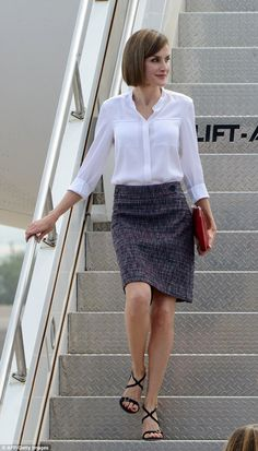 Queen Letizia of Spain put on an impressive sartorial display as she landed in Honduras on Monday