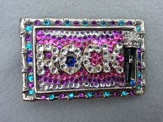 Womens belt buckle, FREE shipping, Rock star, swarovski crystal, rhinestone, microphone