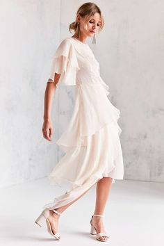 Keepsake Say You Will Ruffle Tier Midi Dress - Urban Outfitters