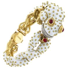 Original David Webb White Enamel Gold Ruby and Diamond Frog Bracelet | From a unique collection of vintage cuff bracelets at http://www.1stdibs.com/jewelry/bracelets/cuff-bracelets/ 42.5k USD