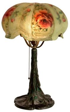 Pairpoint Puffy Red Rose Table Lamp. Reverse painted with large open red roses on the 4 main panels and on the top with scattered smaller roses with leaves and stems on a green background on a tree trunk molded base with 4 arm shade support.Shade is signed