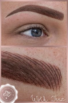 Combined eyebrow tattoo, hairstroke and ombre technique mixed
