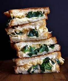 Spinach and Artichoke Grilled Cheese Sandwich. I love grilled cheese sandwiches. And spinach. And artichoke. Gourmet Sandwiches, Panini Sandwiches, I Love Food, Good Food, Yummy Food, Tasty, Delicious Dishes, Delicious Recipes, Vegetarian Recipes