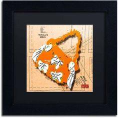 Trademark Fine Art Bow Purse White on Orange Canvas Art by Roderick Stevens, Black Matte, Black Frame, Archival Paper, Size: 11 x 11