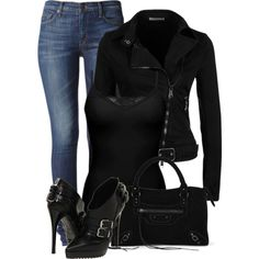 Black and Jeans, created by fashion-766 on Polyvore