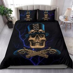 Are you looking for unique bedding sets for adults? We got you covered. All of our bedding sets have unique designs such as gothic bedding sets, skull bedding sets and more. Our bedding sets are super-soft, comfortable, and perfect for any season. Each bedding set comes with a duvet cover and 2 pillow covers. Blue Bedding Sets, Queen Bedding Sets, Gothic Bed, Bed Sheets, Comforters, Duvet Covers, Pillow Cases, Pillows, Luxury
