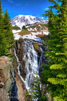 Myrtle Falls, Mt. Rainer, WA State. The park contains outstanding subalpine meadows and 91,000 acres (370 km2) of old growth forests.