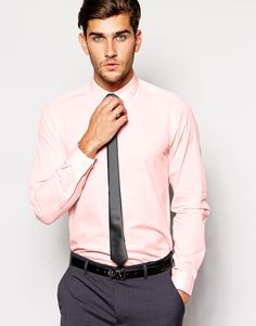 """Shirt by ASOS Lightweight fabric Spread collar Button placket Regular fit - true to size Smooth, soft tie Tie length: 143cm/56"""" Machine wash 55% Cotton, 45% Polyester Our model wears a size Medium and is 188cm/6'2"""" tall"""