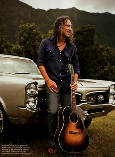 Kirk Hammett -- I like the Pontiac he's leaning on!