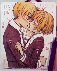 """""""First Kiss"""" Cardcaptor ending that I wish had happened lol. I don't even know hahaha. Just some self indulgence. Haven't drawn any pda stuff in a really long time now. I was just gonna leave the sketch but wanted to touch up with a bit of colour but...uh...I went overboard. Gonna catch up on the sketchbook so I'll be sketching random stuff and won't really post it :P. Had to finish this one cause I had already started it before my self-imposed break and I liked Sakura's face ___ by qinniart"""