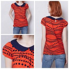 """Anthropologie Novelty Collar Tee NWOT  From the quirky pattern to the swiss dot peter-pan collar, this conversational tee has us talking. Keyhole button at nape  Cotton  Machine wash   25""""L Anthropologie Tops Blouses"""