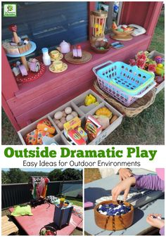 How to create opportunities for dramatic play outside. How to create opportunities for dramatic play outside – great for homeschool, early learning educators, family day care or long day care providers Outdoor Learning Spaces, Outdoor Activities For Kids, Toddler Activities, Summer Activities, Cognitive Activities, Outdoor Education, Outdoor Games, Toddler Crafts, Kid Crafts