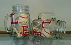Love Baseball painted glasses