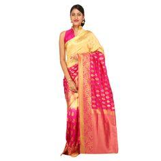 Zari work tusser silk saree in cream and pink / Manage Products / Catalog / Magento Admin